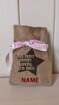 Personalized Star Small Father Christmas Xmas Santa Sack / Stocking Bag Jute Hessian